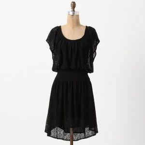 Anthropologie Leifnotes Smocked Mini Dress Black